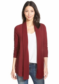 Lucky Brand Cable Texture Open Front Cardigan