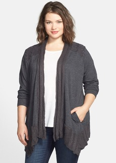 Lucky Brand Cable Yoke Cardigan (Plus Size)
