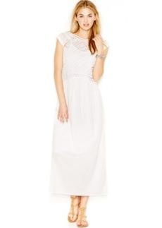 Lucky Brand Cap-Sleeve Eyelet Maxi Dress