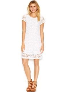 Lucky Brand Cap-Sleeve Lace-Overlay Shift Dress