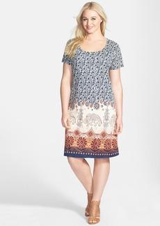 Lucky Brand 'Chantal' Border Print T-Shirt Dress (Plus Size)