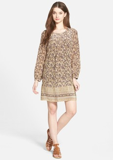 Lucky Brand Contrast Border Floral Print Silk Shift Dress