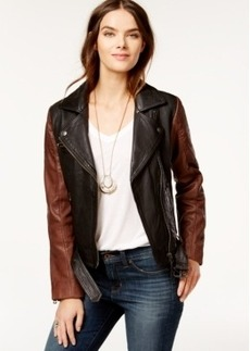 Lucky Brand Contrast Leather Moto Jacket