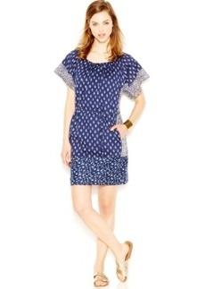 Lucky Brand Contrast-Print Self-Tie Dress