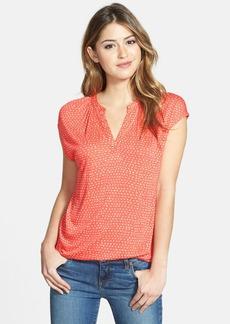 Lucky Brand 'Coral Dot' Split Neck Top