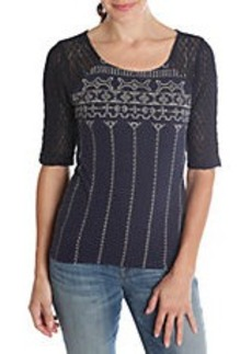 LUCKY BRAND Crochet-Sleeve Embroidered Top