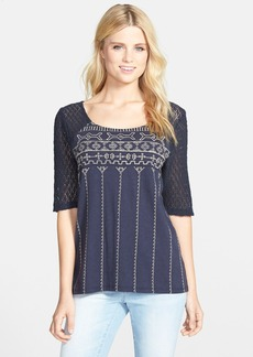 Lucky Brand Crochet Sleeve Embroidered Top
