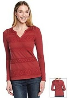 Lucky Brand® Crochet Striped Thermal Top