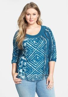 Lucky Brand Crochet Trim Print Jersey Top (Plus Size)