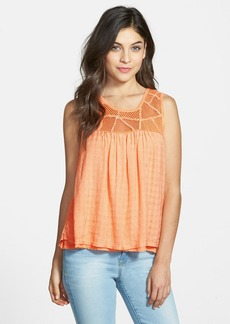 Lucky Brand Crochet Yoke Layered Top
