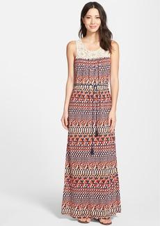 Lucky Brand Crochet Yoke Maxi Dress