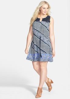 Lucky Brand Crochet Yoke Stripe Print Dress (Plus Size)