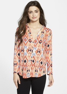 Lucky Brand Diamond Print Split Neck Henley Top