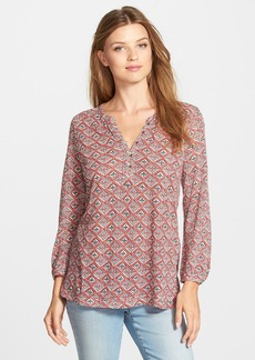 Lucky Brand 'Diamond Woodblock' Print Split Neck Top