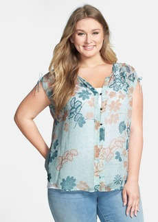 Lucky Brand Dotted Botanical Print Top (Plus Size)