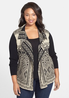 Lucky Brand Double Knit Cotton Cardigan (Plus Size)