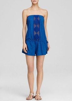 Lucky Brand Dream Catcher Strapless Swim Cover Up Romper
