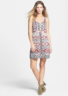 Lucky Brand Embroidered Bib Print Sleeveless Dress