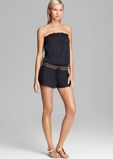 Lucky Brand Embroidered Burnout Romper Swim Cover Up