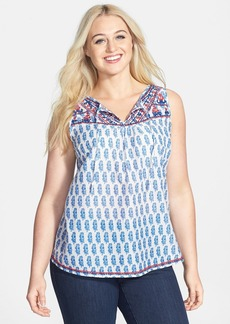 Lucky Brand Embroidered Button Back Cotton Tank (Plus Size)
