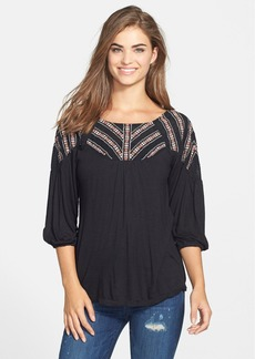 Lucky Brand Embroidered Jersey Peasant Top