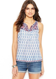 Lucky Brand Embroidered Mixed-Print Top