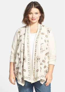 Lucky Brand Embroidered Open Front Cardigan (Plus Size)