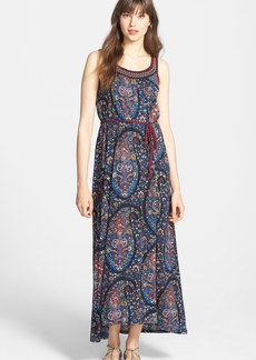 Lucky Brand Embroidered Paisley Print Jersey Maxi Dress