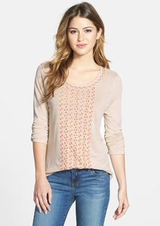 Lucky Brand Embroidered Scoop Neck Knit Top