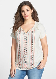 Lucky Brand Embroidered Short Sleeve Top (Plus Size)