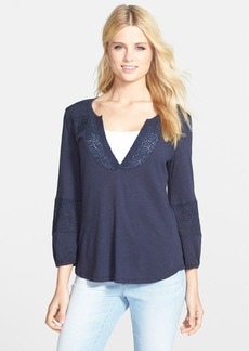 Lucky Brand Embroidered Split Neck Jersey Top