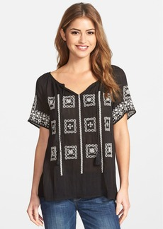 Lucky Brand Embroidered Split Neck Peasant Top