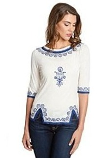 Lucky Brand® Embroidered Trim Top