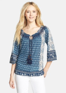 Lucky Brand 'Emery' Smocked Split Neck Top