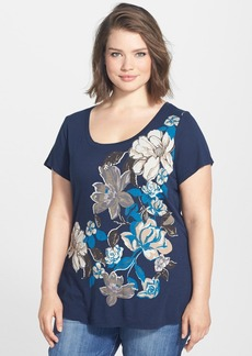 Lucky Brand 'Exploded Fall' Floral Print Tee (Plus Size)