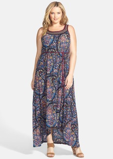 Lucky Brand Exploded Paisley Print Jersey Maxi Dress (Plus Size)
