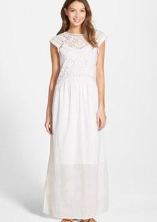 Lucky Brand Eyelet Detail Cotton Maxi Dress