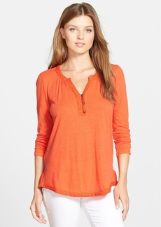 Lucky Brand Eyelet Trim Split Neck Top