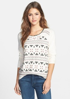 Lucky Brand 'Farrah' Embroidered Jersey Top