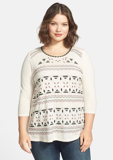 Lucky Brand 'Farrah' Embroidered Jersey Top (Plus Size)