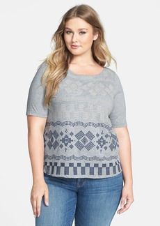 Lucky Brand 'Faye' Embroidered Boatneck Tee (Plus Size)