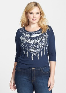 Lucky Brand 'Feather Necklace' Print Tee (Plus Size)
