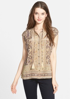 Lucky Brand Floral Border Print Silk Top