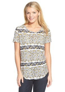 Lucky Brand Floral Print Button Back Tee