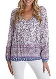 LUCKY BRAND Floral Print Tie-Neck Top