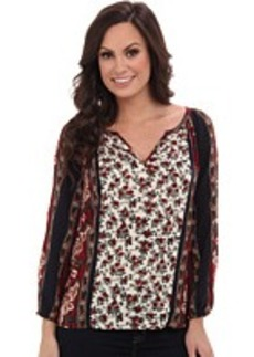 Lucky Brand Floral Scarf Print Top