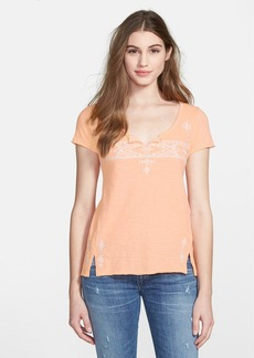 Lucky Brand Folk Embroidered Short Sleeve Tee