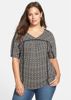 Lucky Brand Geo Print Jersey Top (Plus Size)
