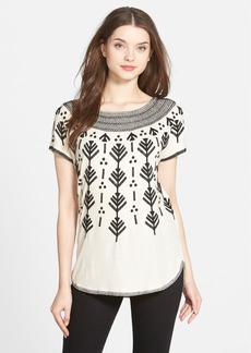 Lucky Brand Graphic Embroidered Top