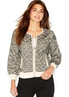 Lucky Brand Graphic-Jacquard Bomber Sweater Jacket